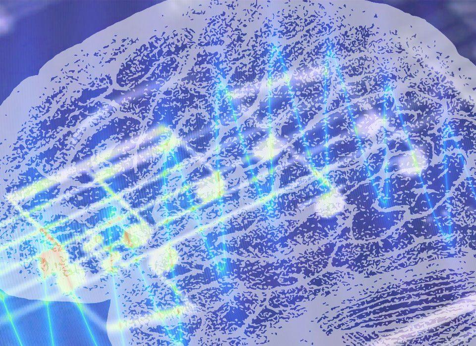 brain illustration sound electric